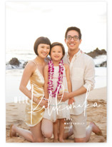 This is a white holiday photo card by Guess What Design Studio called kalikimaka greetings with standard printing on pearlescent in standard.