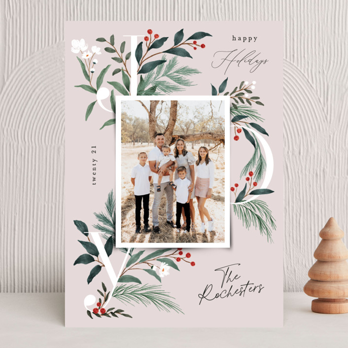 """""""Sweetest Joy"""" - Holiday Photo Cards in Blush by Elly."""