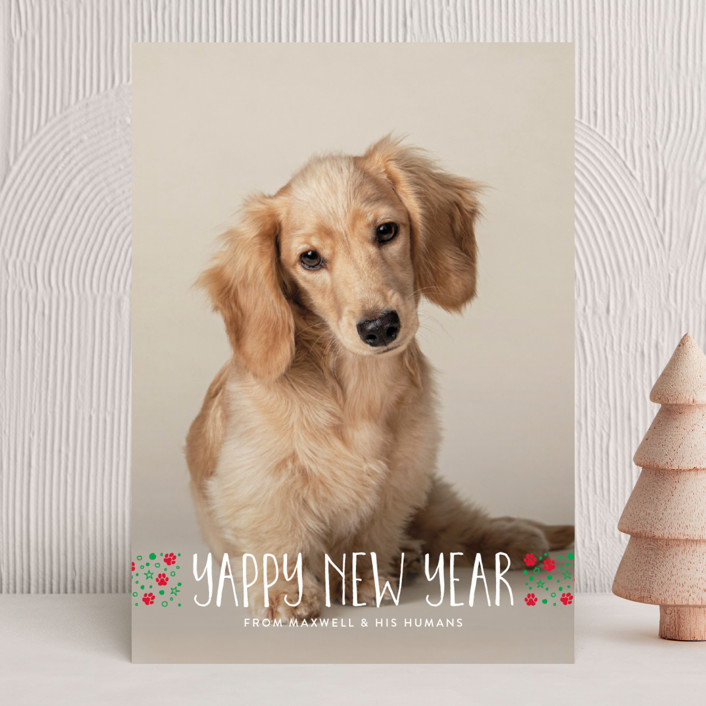 """""""naughty dog"""" - Holiday Photo Cards in Linen by Erin Deegan."""
