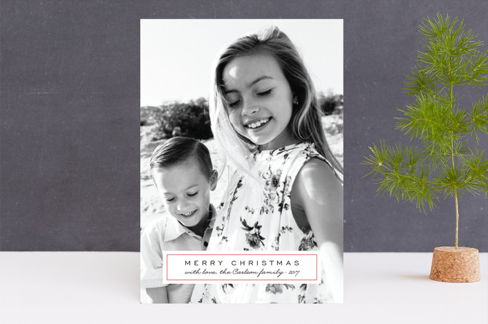 """Classic Label"" - Holiday Photo Cards in Persimmon by Laura Condouris."