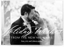 This is a white holiday photo card by Beth Murphy called New Mr. & Mrs. with standard printing on smooth signature in standard.