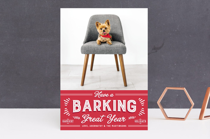 """""""barking great season"""" - Funny Holiday Photo Cards in Red Apple by Guess What Design Studio."""