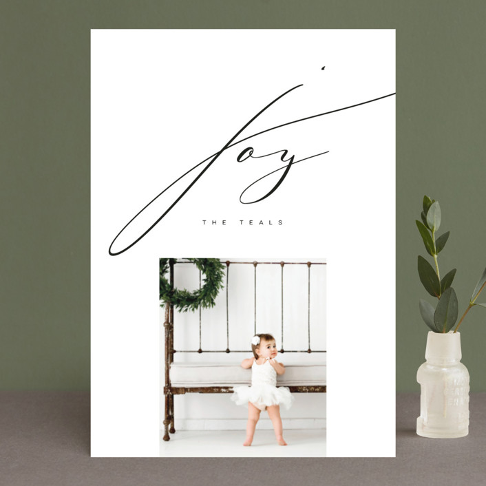 """""""Inked Joy"""" - Holiday Photo Cards in Coal by Lori Wemple."""