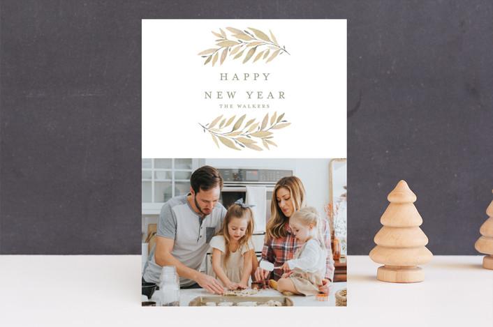 """Simple Laurels"" - Holiday Photo Cards in Gingerbread by Grace Kreinbrink."