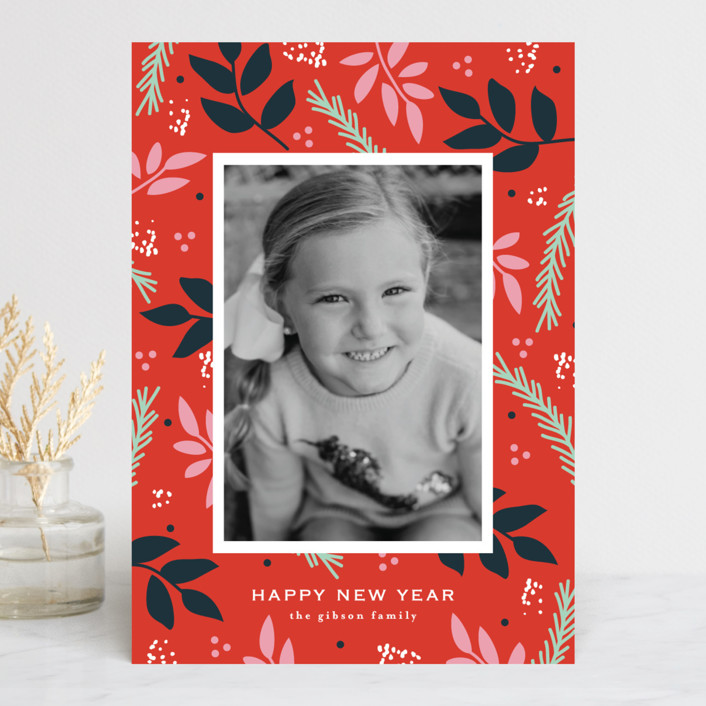 """""""notably merry"""" - Holiday Photo Cards in Cherry by lena barakat."""