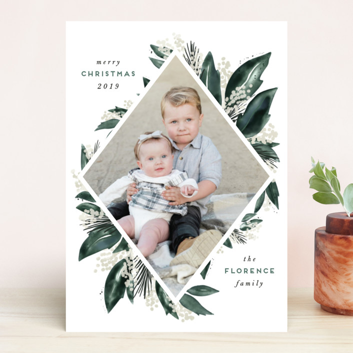 """""""Seasonal Greenery"""" - Holiday Photo Cards in Evergreen by Leah Bisch."""