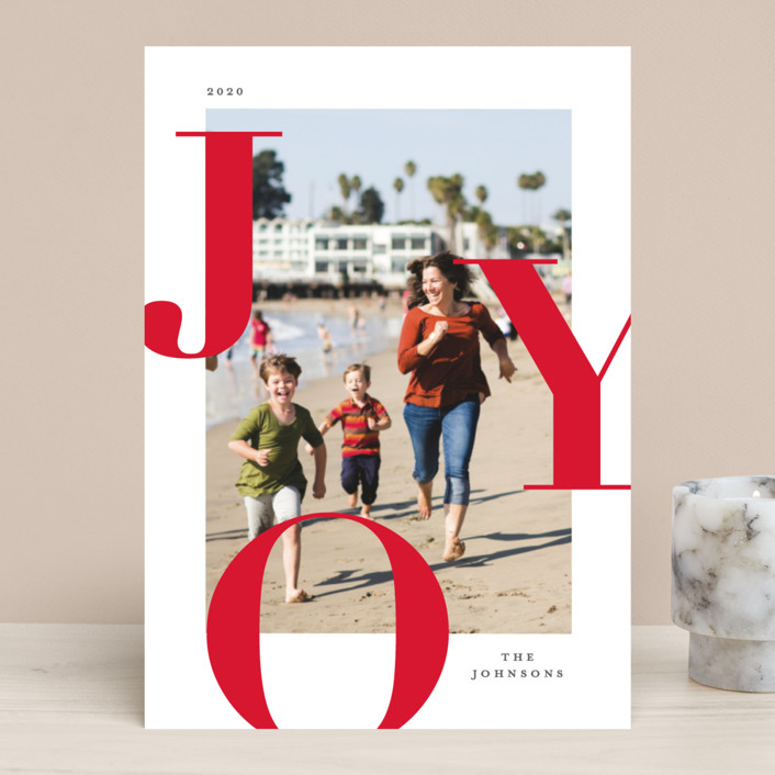 """Supreme Joy"" - Holiday Photo Cards in Berry by Michelle Taylor."