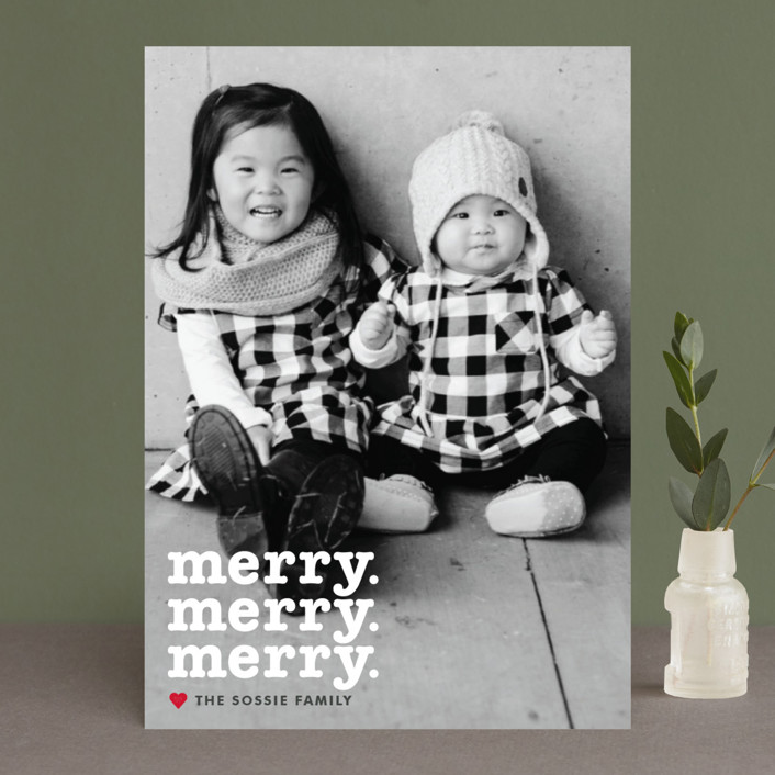 """""""Merry Times 3"""" - Holiday Photo Cards in Snowflake by Abby Munn."""