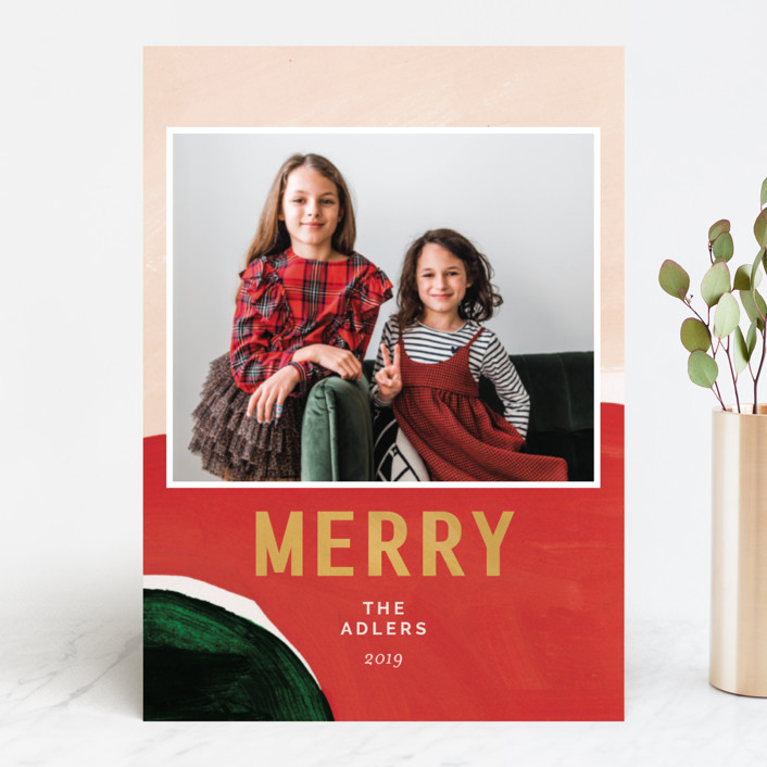"""""""Mid Winter"""" - Modern Holiday Photo Cards in Poinsettia by Robin Ott."""