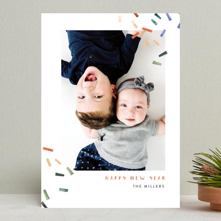 """Joyful Confetti"" - Modern Holiday Photo Cards in Poppy by Kelly Ventura."