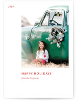 This is a red holiday photo card by Jack Knoebber called Leaflet with standard printing on smooth signature in standard.