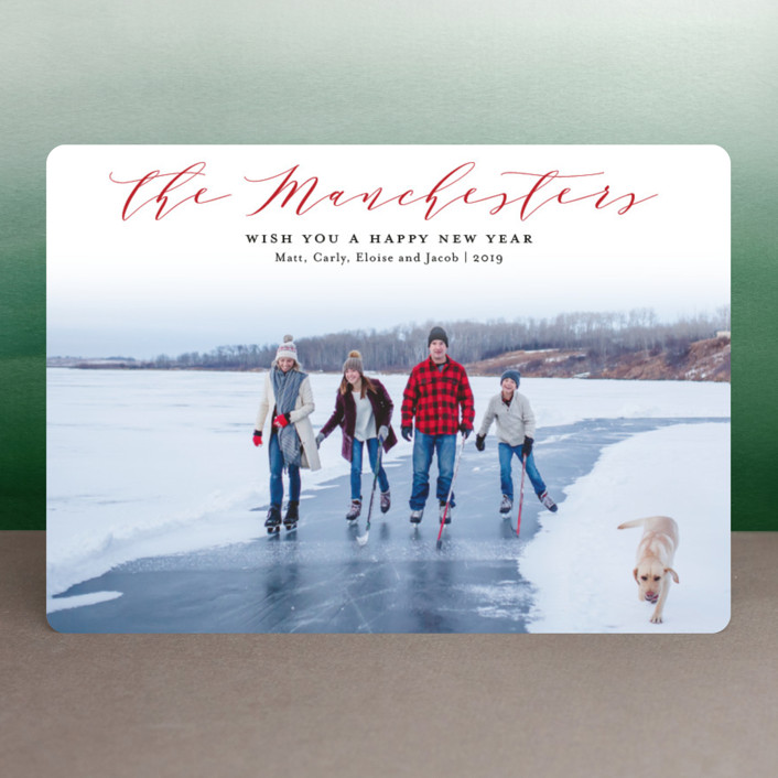"""Modern Name"" - Holiday Photo Cards in Cranberry by Sarah Guse Brown."