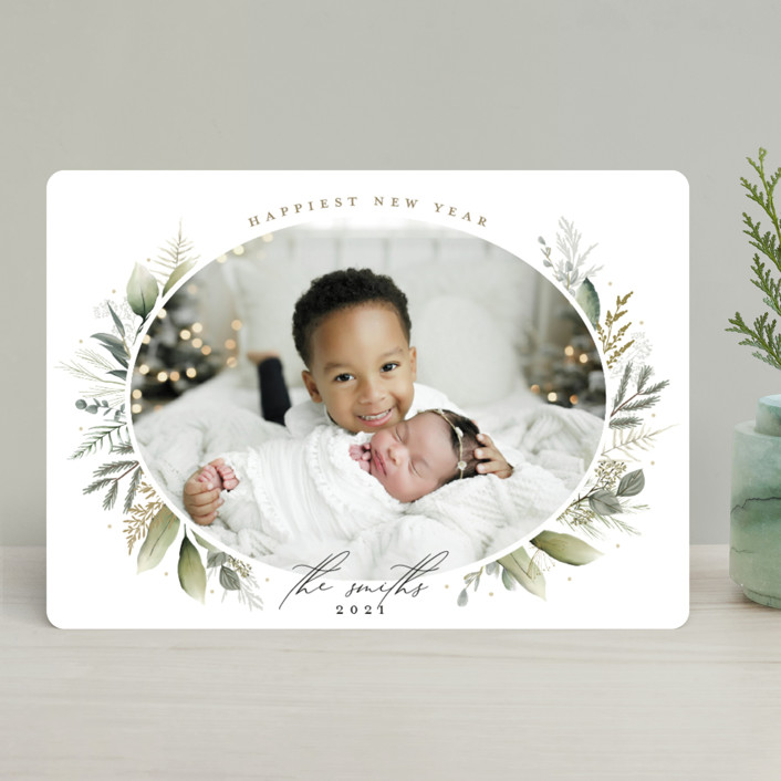 """""""Soft Greenery"""" - Holiday Photo Cards in Sage by Susan Moyal."""