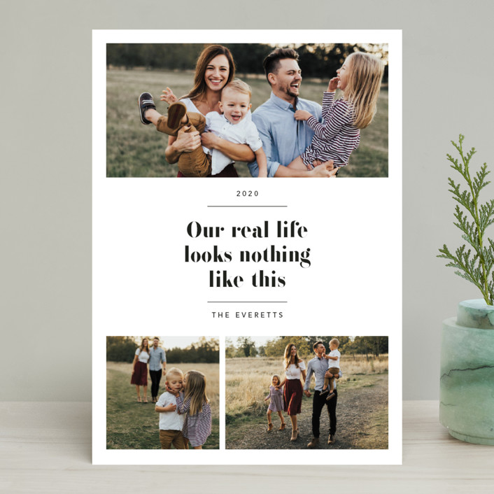 """""""Real Life."""" - Holiday Photo Cards in Coal by Hudson Meet Rose."""