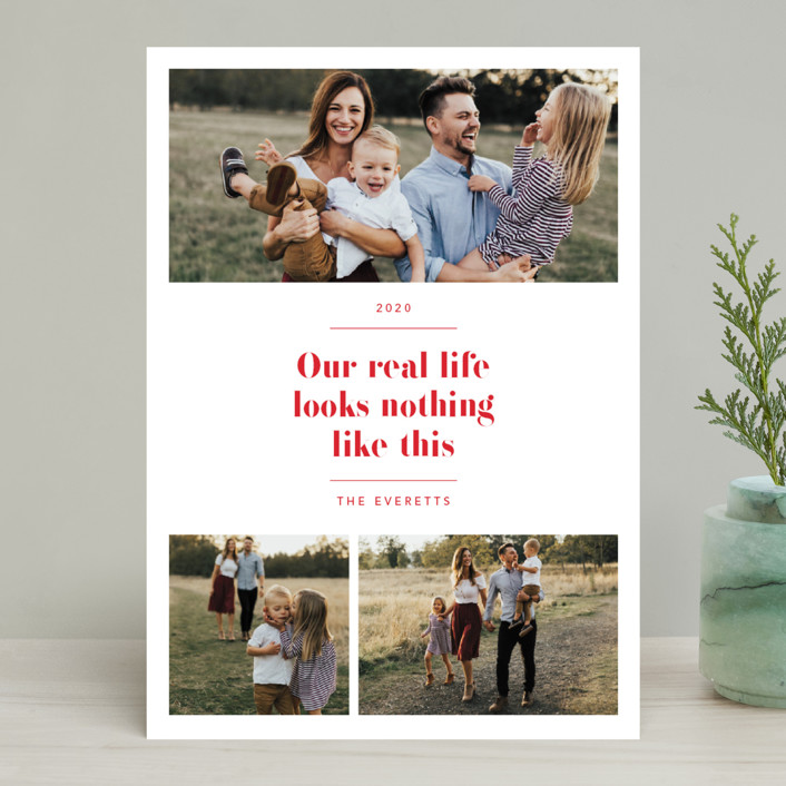 """""""Real Life."""" - Holiday Photo Cards in Ruby by Hudson Meet Rose."""
