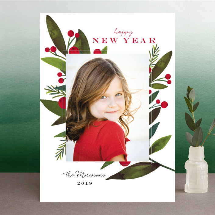 """""""Bold Winter Foliage"""" - Holiday Photo Cards in Cherry by Petra Kern."""