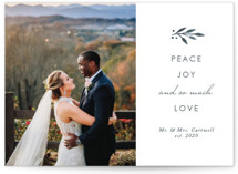 This is a blue holiday photo card by Kelly Nasuta called So Much Love with standard printing on smooth signature in standard.