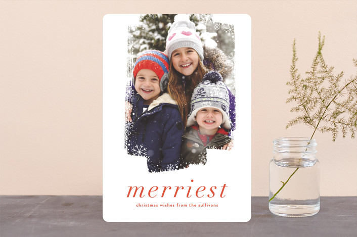 """Frosted"" - Holiday Photo Cards in Poinsettia by Angela Marzuki."