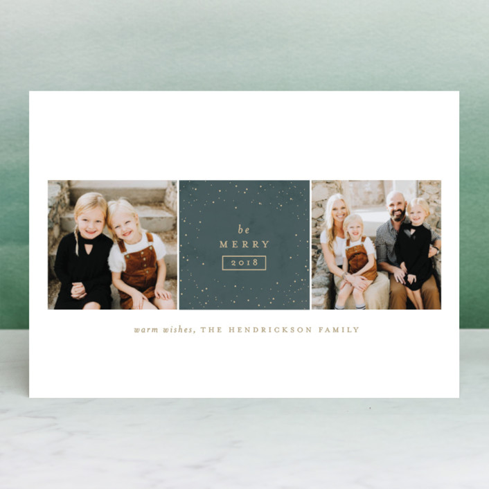 """""""Sparkling Be Merry"""" - Holiday Photo Cards in Denim by Carolyn Nicks."""
