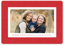 This is a red holiday photo card by Lea Delaveris called Festive fabric with standard printing on smooth signature in standard.