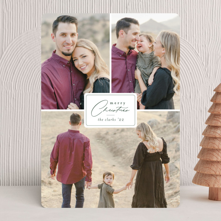 """""""Badge"""" - Holiday Photo Cards in Pine by Brianne Larsen."""