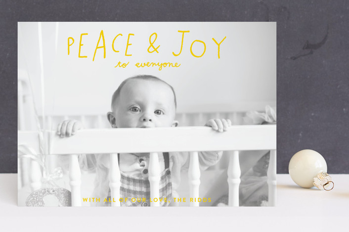 """Hand Lettered Peace and Joy"" - Holiday Photo Cards in Canary by Allison Cornu."