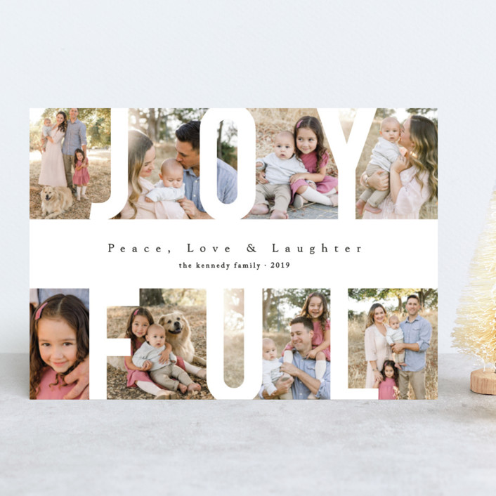 """""""Peace Love & Laughter"""" - Holiday Photo Cards in Snow by Playground Prints."""