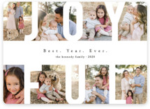 This is a white holiday photo card by Playground Prints called Peace Love & Laughter with standard printing on smooth signature in standard.