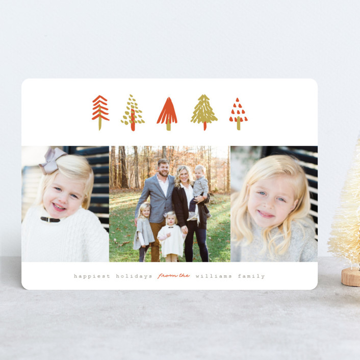 """Tiny Trees"" - Modern Holiday Photo Cards in Pumpkin by Pistols."