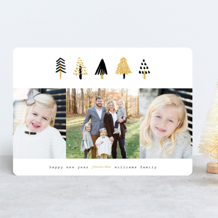 """""""Tiny Trees"""" - Modern Holiday Photo Cards in Midnight by Pistols."""