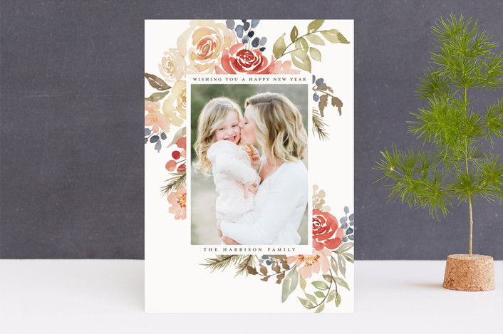 """Bright Holiday Garden"" - Holiday Photo Cards in Cranberry by Wildfield Paper Co.."