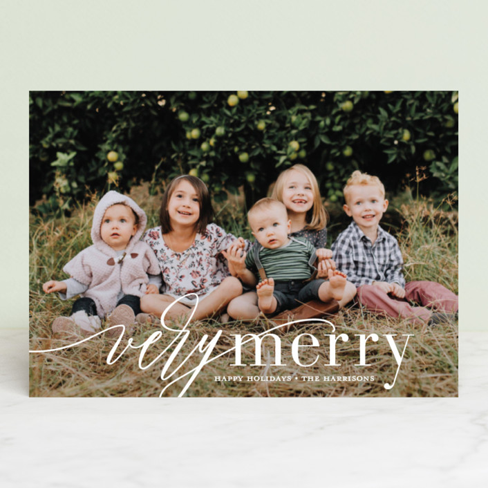 """""""Wispy Merry"""" - Holiday Photo Cards in Marshmallow by Jessica Williams."""