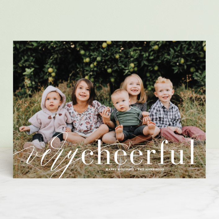"""Wispy Merry"" - Holiday Photo Cards in Marshmallow by Jessica Williams."