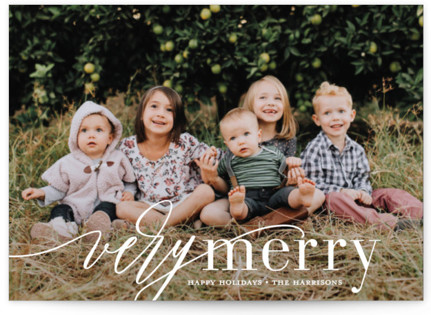 Wispy Merry Holiday Photo Cards