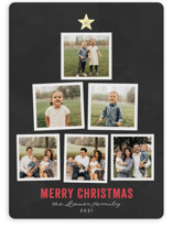 This is a black holiday photo card by Jessie Steury called Stacked Tree with standard printing on smooth signature in standard.