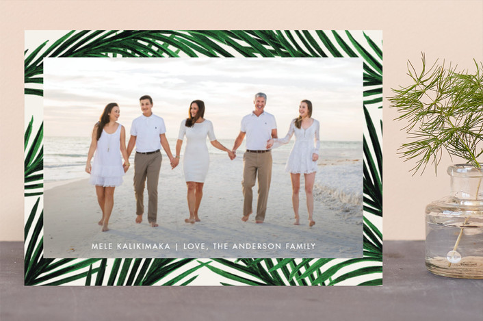 """""""Tropical Love"""" - Holiday Photo Cards in Champagne by Elly."""