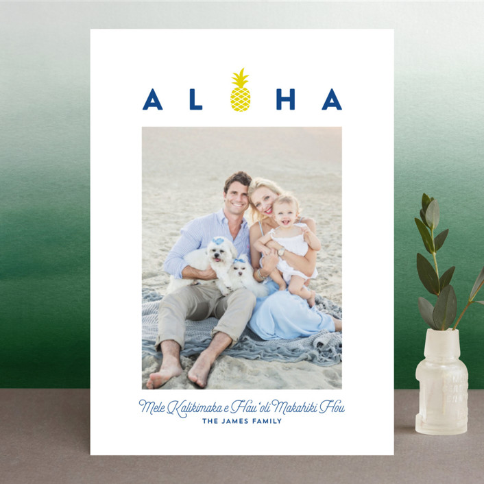 """""""aloha kalikimaka"""" - Holiday Photo Cards in Navy by Guess What Design Studio."""