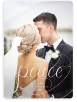 This is a white holiday photo card by Becky Nimoy called Peaceful Chalk with standard printing on smooth signature in standard.