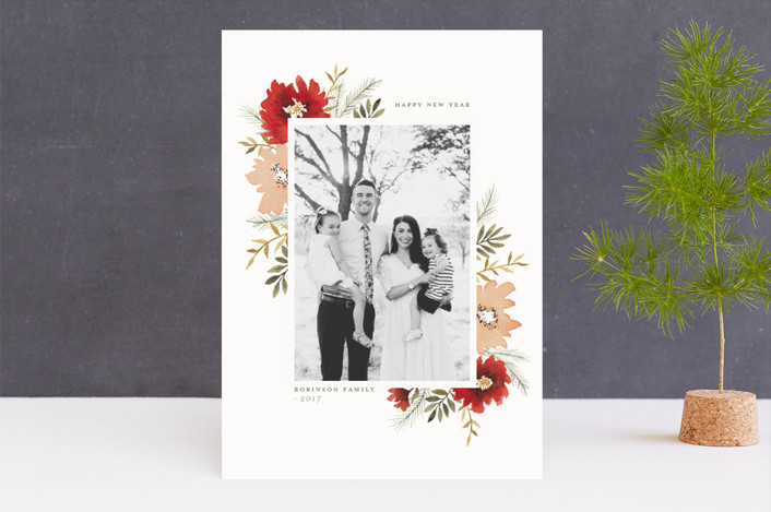 """Christmas Bouquet"" - Holiday Photo Cards in Poinsettia by Wildfield Paper Co.."