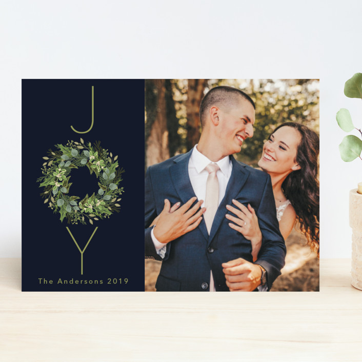"""""""Greenery & Joy"""" - Holiday Photo Cards in Twilight by Susan Moyal."""