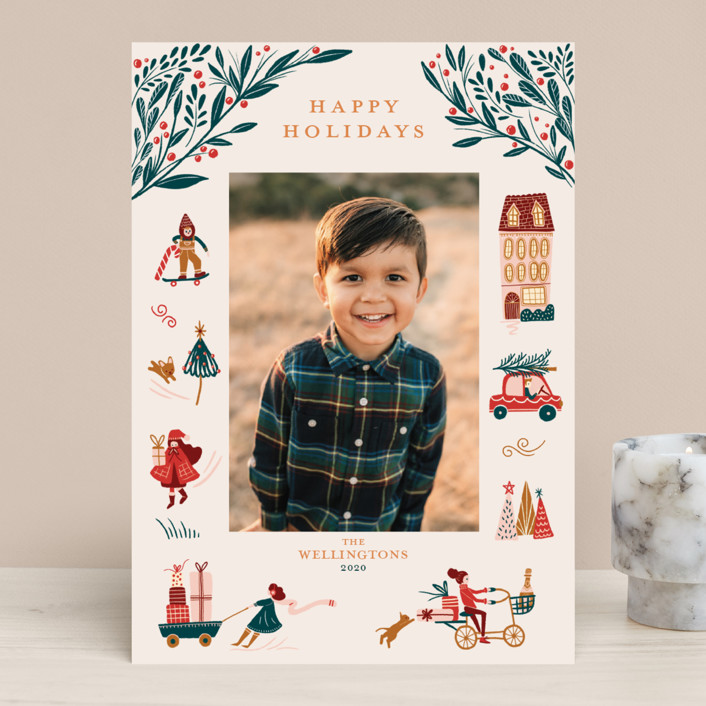 """""""Holiday Season"""" - Vintage Holiday Photo Cards in Cream by Vivian Yiwing."""