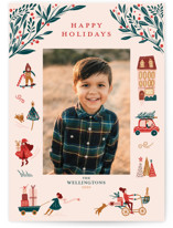 This is a pink holiday photo card by Vivian Yiwing called Holiday Season with standard printing on smooth signature in standard.