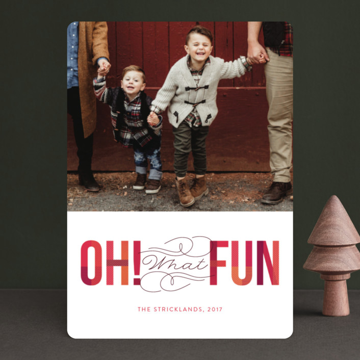 """Oh! What Fun"" - Holiday Photo Cards in Cranberry by Ann Gardner."