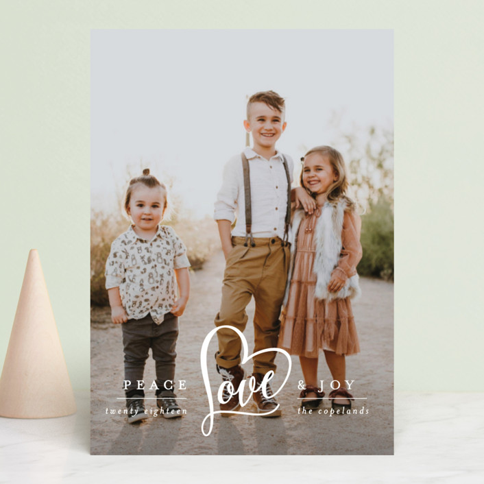 """Peace Heart & Joy"" - Holiday Photo Cards in Snow by Hooray Creative."