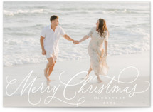 This is a white holiday photo card by Everett Paper Goods called Scripted Flourish with standard printing on recycled smooth signature in standard.
