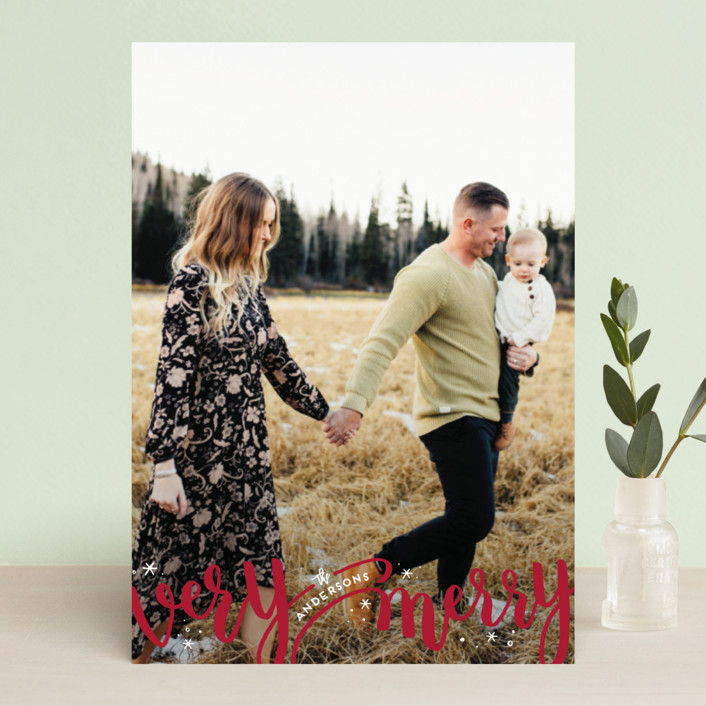 """Merrily Intertwined"" - Holiday Photo Cards in Cranberry by Leah Bisch."