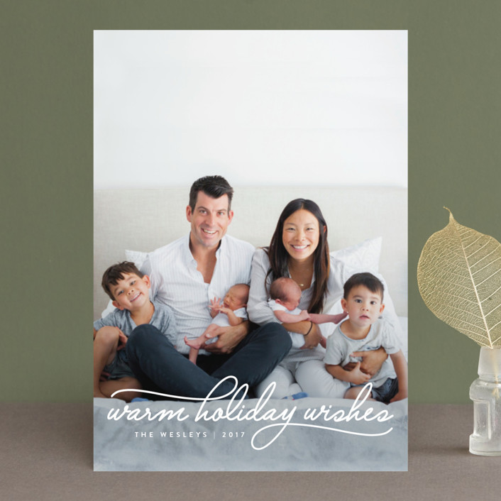 """Warm Holiday Wishes"" - Holiday Photo Cards in Icing by Design Lotus."