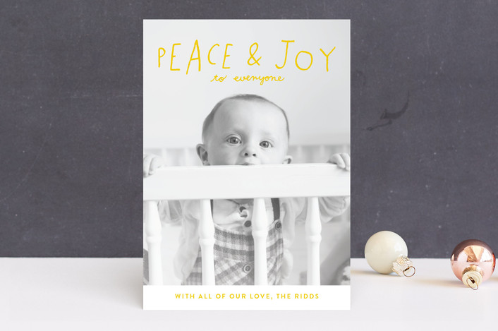 """""""Hand Lettered Peace and Joy"""" - Holiday Photo Cards in Canary by Allison Cornu."""