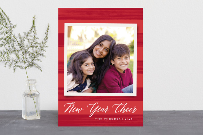 """""""Painted Stripes"""" - Holiday Photo Cards in Holly by Anne Holmquist."""
