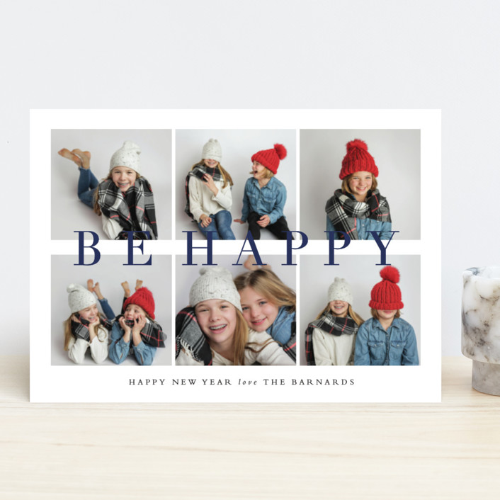 """""""Be Merry Grid"""" - Holiday Photo Cards in Navy by Stacey Meacham."""